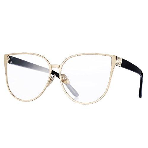 [Pro Acme New Fashion Oversized Cat Eye Flat Lens Clear Glasses Frame for Women (Baby Gold)] (Clear Cat Eye Glasses)