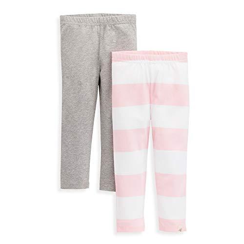 (Burt's Bees Baby Baby Girl's Leggings, Infant & Toddler Bottoms, 100% Organic Cotton Pants, Grey/Pink Rugby Stripe 2-PK, 3 Toddler)