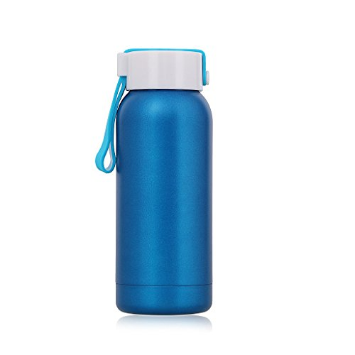 Small Thermos 8OZ/250ML Insulated Water Bottle Tumbler Stainless Steel Flask with Handle, Blue by Living&Giving