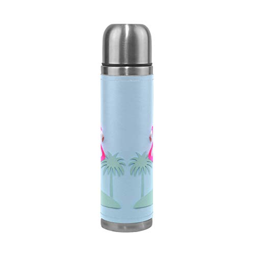 Water Bottle Flamingos and Palm Trees Love Travel Insulated Stainless Steel Water Bottles Leak Proof Double Wall Thermos Leather Cover 17Oz 500ml