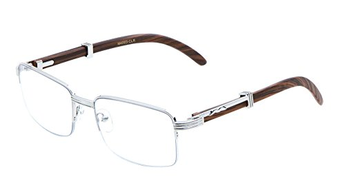 Executive Half Rim Rectangular Metal & Wood Eyeglasses / Clear Lens Sunglasses - Frames (Silver & Dark Brown Wood, Clear)