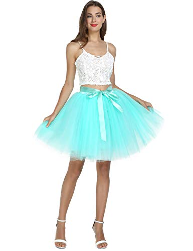 Women's High Waist Princess Tulle Skirt Adult Dance Petticoat A-line Wedding Party Tutu(Mint -