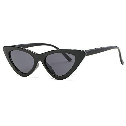 Kimorn Cat Eye Sunglasses Women Clout Goggles Kurt Cobain Retro Sun Glasses K0566 (Black)