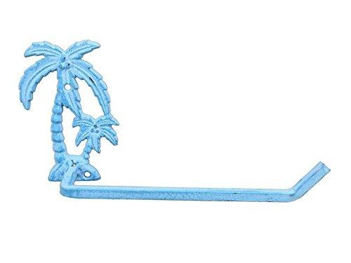 (Hampton Nautical K-9208-light-blue Light Blue Whitewashed Cast Iron Palm Tree Toilet Paper Holder 10