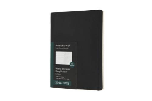 Moleskine 2014-2015 Weekly Planner, 18 Month, Extra Large, Black, Soft Cover (7.5 x 10) (Moleskine Diaries)