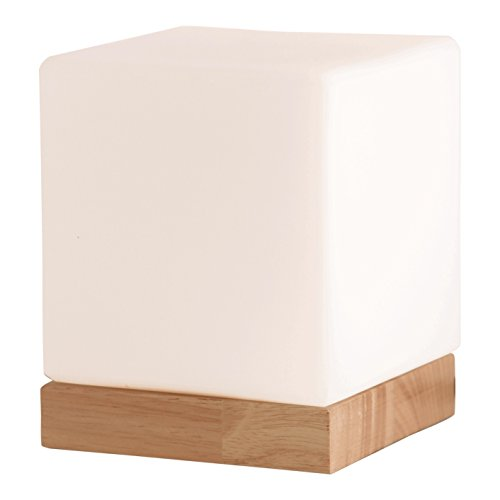 Light Accents Felix Table Lamp Glass Cube Accent Lamp - Glass Shade with Natural Wooden Base - Modern Square Table Lamp