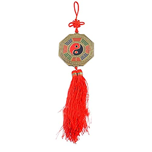 """Feng Shui Bagua Mirror Ying Yang Charm with Chinese Knot 7cm (3"""")+ Free Fengshuisale Red String Bracelet Y1231"""