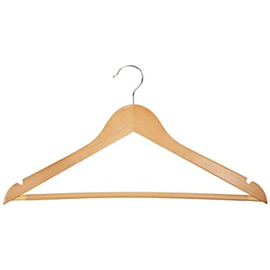 AmazonBasics Wood Suit Hangers - 30-Pack, Maple