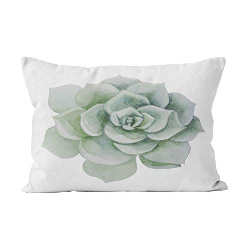 Wesbin Floral Mint Green Watercolor Succulent Cactus Pretty Hidden Zipper Home Decorative Rectangle Throw Pillow Cover Cushion Case Inch 16x24 One Side Design Printed Pillowcase ()