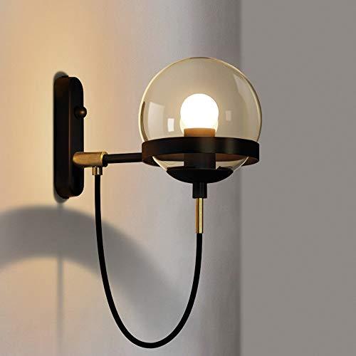 Abgail Iron Art E27 Wall Lamp Led Glass Lamp Nordic Retro Restaurant Light Modern Bedside Lantern Creative Single Head Burner Industrial Wind Ball Tube Hotel Simple Valve (Color : Black) Art Glass Modern Oil Burner