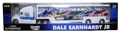 NASCAR Authentics Dale Earnhardt Jr. #88 Trailer / Hauler - Team Racing Hauler Transporter Semi Tractor Trailer Rig Truck 1/64 Scale - Metal Cab Plastic Trailer - 2018 Wave - 2017 Appreci88ion Hauler