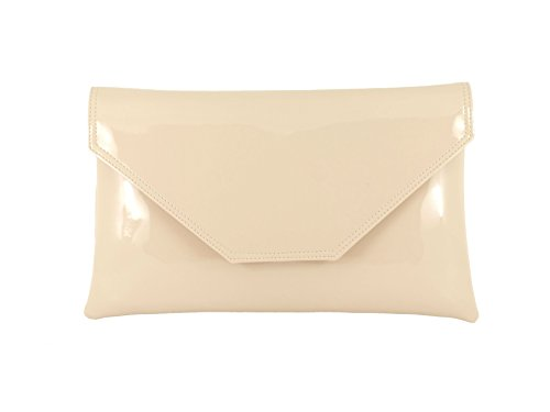 Patent Pink Clutch Large Bag Bag Party Wedding Prom Bag Nude Stylish Envelope Shoulder Womens Loni cSqI6gg