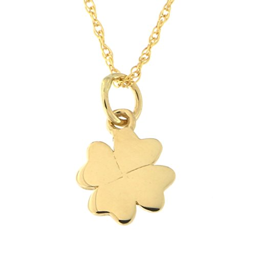 Beauniq 14k Yellow Gold Tiny Four Leaf Clover Pendant Necklace, 18