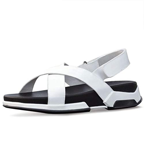 Wedge Sandals Summer Beach White Sandals Mens Sandals Genuine Leather Sandals Men Cross Strap Casual Men Shoes]()