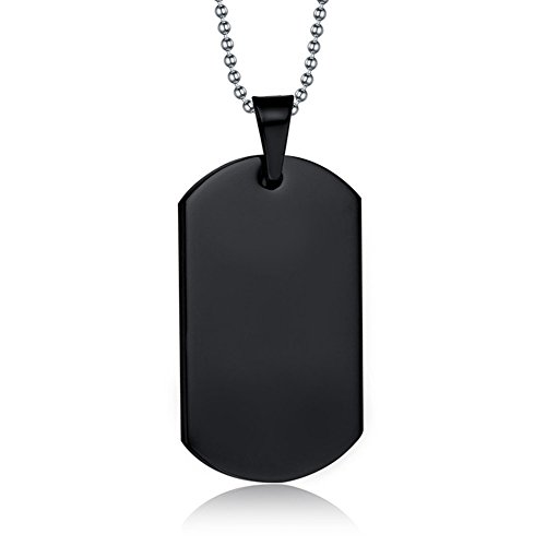 "NEHZUS Stainless Steel Plain Dog Tag Pendant Necklace with 22"" Chain (Free Engraving)"