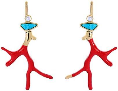 N/N Aretes Mujer Pendientes De Coral De Esmalte Rojo para Mujer Pendientes De Gota De Color Dorado De Resina Joyería De Moda De Perlas Acrílicas