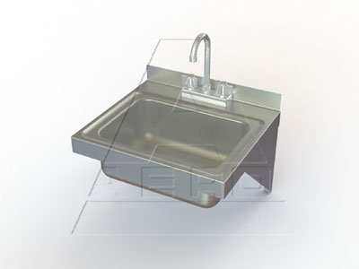 Aero Wall Mount Stainless Hand Sink, 14 x 18 inch - 1 each.