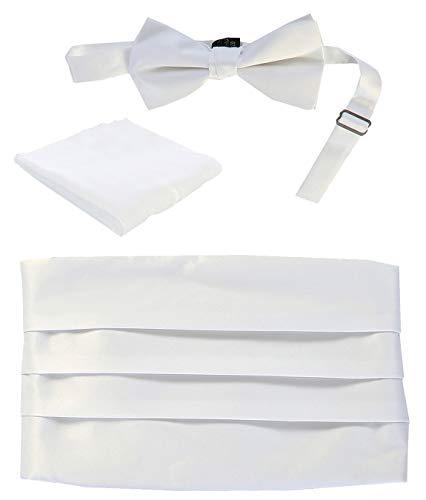 Gioberti Kids/Boys' Adjustable Satin Cummerbund Set With Formal Bow Tie and Pocket Square, White