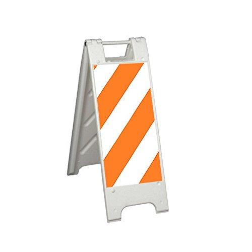 "Plasticade 155-HT12LGEG-W-R Minicade Barricade/Sign Stands, 12"" x 24"" Engineer Grade Striped Sheeting, Right Striping (Side A)/Engineer Grade Sign Legend (Side B), White"