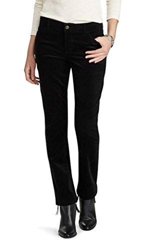 Chaps Women's 4-Way Stretch Straight-Leg Corduroy Pants (Black, 14)