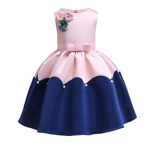 Girl Princess Flower Dress Kids Lace Wedding Party Bridesmaid Dresses (8-9 Years, Pink)