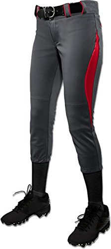 Champroサージ従来Low Rise Fastpitch Pants – Girl 's B0767NSQJ3 Small|Graphite/Scarlet Graphite/Scarlet Small