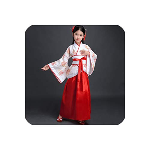 Hanfu Girls Dance Costume Chinese Festival Outfit Ancient Dress Oriental Stage,Style 6,160 cm -