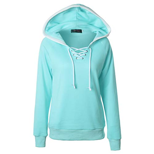 Sunhusing Women's Solid Color Hooded Pullover Tops Cross Drawstring Lace-Up Jumper Hoodie Sweatshirt Light Blue