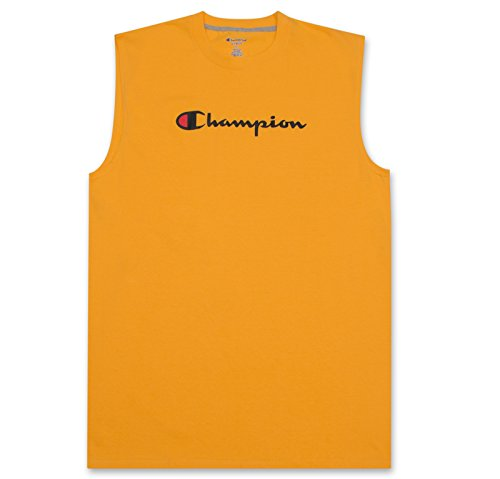 Champion Mens Big and Tall Jersey Muscle Tee with Script Logo Gold 3X-Large Big - Athletic Jersey Workout Shirt