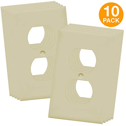 (Duplex Wall Plates Kit by Enerlites 8821-I Home Electrical Outlet Cover, 1-Gang Standard Size, Unbreakable Polycarbonate Material, Ivory- 10 Pack Dual Port Replacement Receptacle)