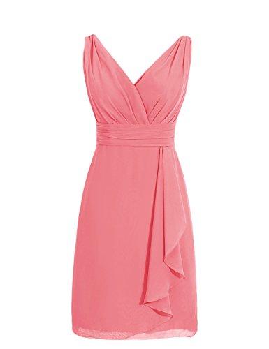 Dresstells®Vestido De Mujer Corto De Gasa Escote En Pico Vestido De Fiesta Noche Boda Coral