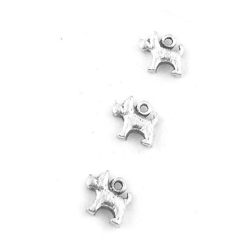 Packet of 10 x Antique Silver Tibetan 14mm Charms Pendants (Scottie Dog) - (ZX03230) - Charming Beads (Charm Scottie Dog)