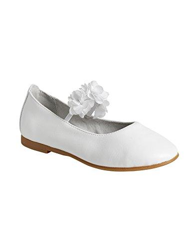 Vertbaudet Festliche Ballerinas für Mädchen, Tüllblumen weiß metallic