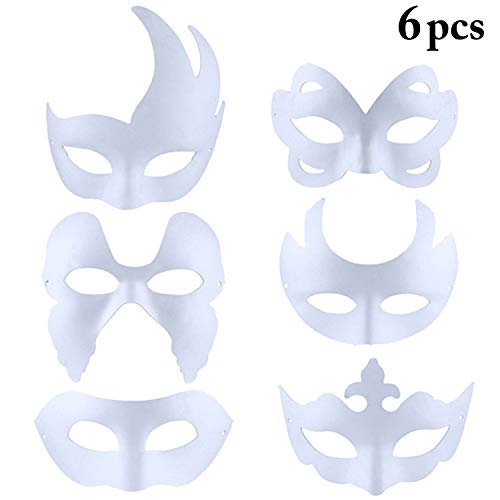 Outgeek DIY Mask, 6 Pcs Paintable Paper Mask Plain White Mask for Mardi -