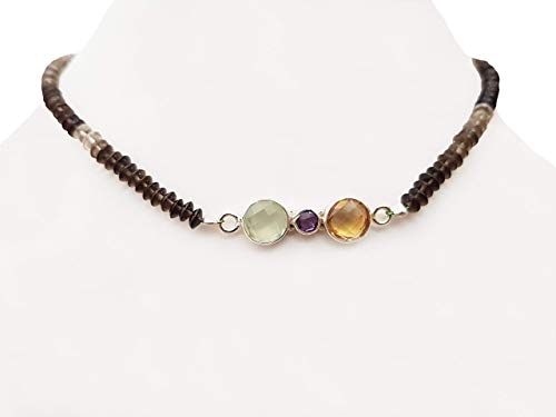 Amethyst Citrine & Prehnite Silver Pendant with Smoky Quartz Beads Choker Necklace with 925 Silver Findings 14