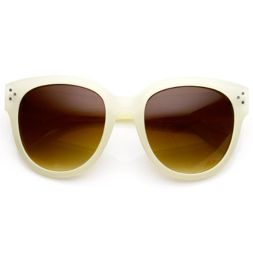 - Womens Large Oversized Fashion Horn Rimmed Sunglasses (Cream)