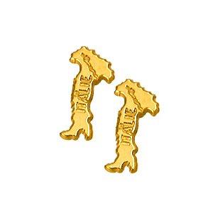 1001 Bijoux - Boucles d'oreille carte italie plaqué or 91776