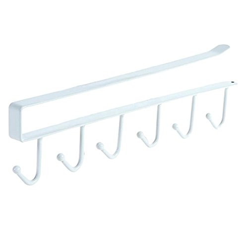 Under Cabinet Door Hangers 6 Hook Cupboard Kitchen Wardrobe Towel Rack Cloth - White