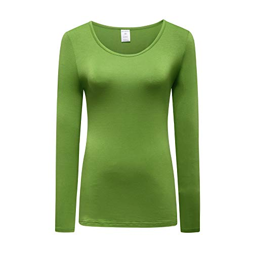 OThread & Co. Women's Long Sleeve T-Shirt Scoop Neck Basic Layer Spandex Shirts (XX-Large, Grass Green)
