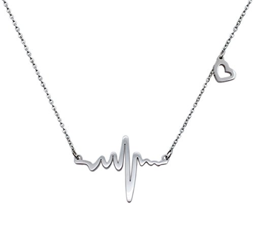 WDSHOW Stainless Heartbeat Cardiogram Necklace product image