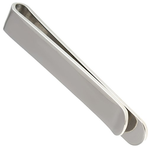 Men's Slim Money Clip Wallet Stainless Steel Silvery Glossy Card Holder 0.8*4.6CM by Aienid