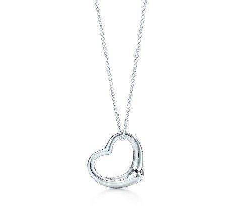 Open Heart Designer Pendant (Designer Inspired Open Heart Necklace and Pendant 925 Sterling Rhodium Plated 18
