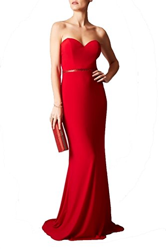 Mascara Mc1612029 Rojo Columna Sin Tirantes Vestido Con Top De Encaje Rojo