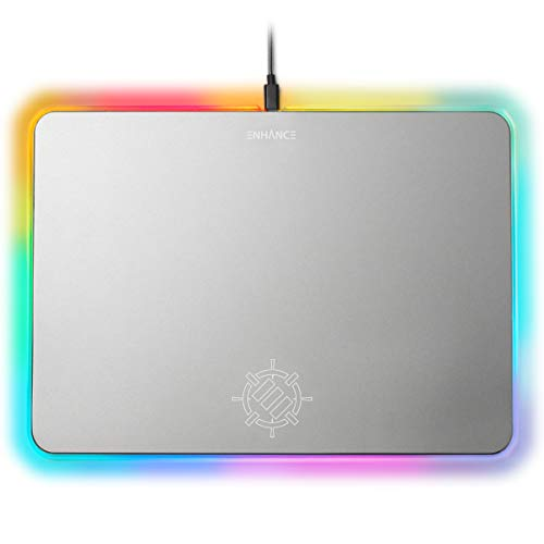 - ENHANCE Metal LED Gaming Mouse Pad - Large Aluminum Alloy Surface with Multi-Color Transparent Edges, Non-Slip Rubber Grip, Sleek Precision Tracking for Esports - Silver