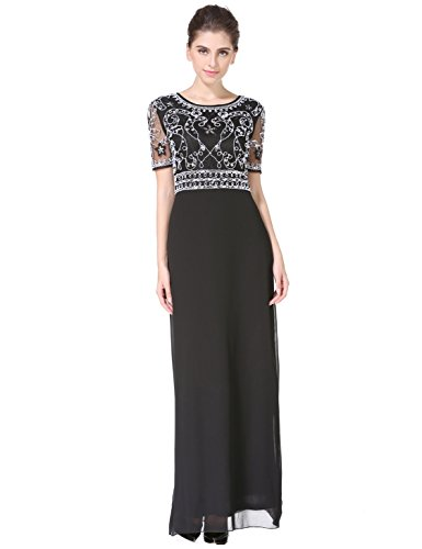 MANER Women Chiffon Beaded Embroidered Sequin Long Gowns Prom Evening Bridesmaid Dress(L,Black)