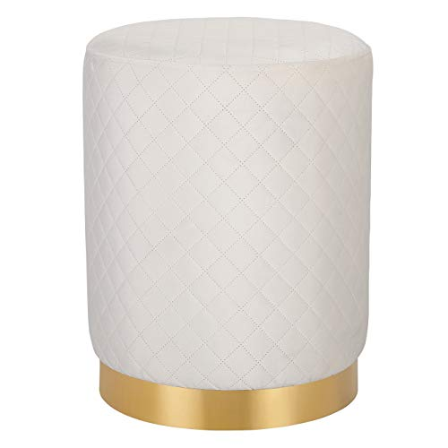 BIRDROCK HOME Round Cream Velvet Ottoman Foot Stool with Lattice Design Soft Compact Padded Stool Gold Trim – Great for The Living Room or Bedroom Decorative Furniture Foot Rest