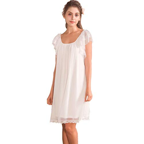 (Ladies Women's Short Sleeve Victorian Cotton Lace Satin Vintage Nightdress Pajamas Nightwear Sleepwear White )