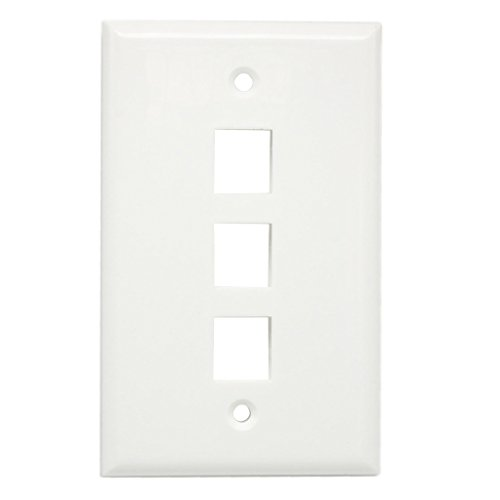 AllSmartLife 3 Port Keystone Wall Plate, 1 Gang Keystone Jack Faceplate for HDMI/RCA/ Cat6/ Cat5e Ethernet Keystone Jack 5 Pack - White ()
