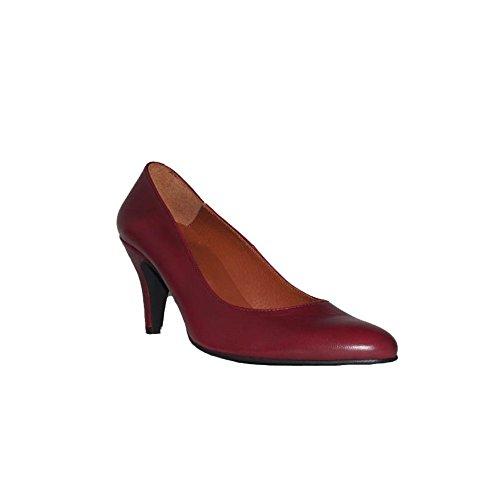Flex Technology - HRD Tacón Fino Zapatos Mujer Tacón Medio Piel Fino Fiesta Vestir Elegante Confort Cómodos Clásicos Color Negro Azul Rojo Beige