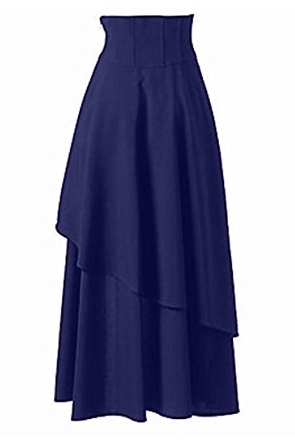 Jupes Femmes Zamtapary High Vintage Low Lace Maxi Taille Blue Haute Steampunk Up Jupe EqEZdfr